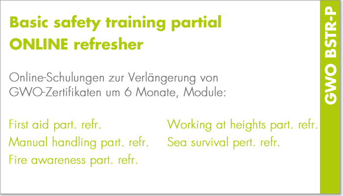 Basic safety training partial online refresher (GWO BSTR-P)